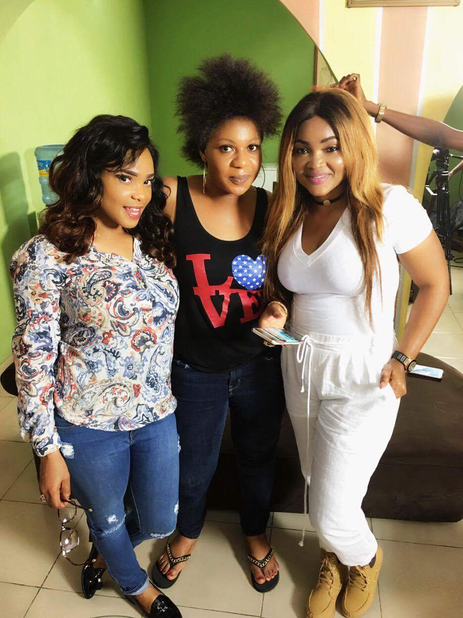 Lola Faduri on set of IfeOdale with Iyabo Ojo and Mercy Aigbe. The Octopus News