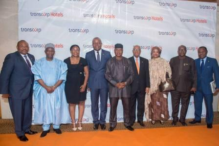 L-R: Mr. Peter Elumelu, Non- Executive Director, Transcorp Hotels Plc, HRH. Baba  Mohammed, Non- Executive Director, Ms. Okaima Ohizua, ED Customer Service, Mr. Valentine Ozigbo, MD/CEO, Olorogun O'tega Emerhor, Chairman, Mr. Emmanuel Nnorom, Group President/Non- Executive Director, Hajiya Saratu Umar, Non-Executive Director, Dr. Vincent Akpotaire, Non- Executive Director and Adim Jibunoh, Non-Executive Director during the company's 3rd Annual General Meeting held yesterday at Transcorp Hilton Abuja