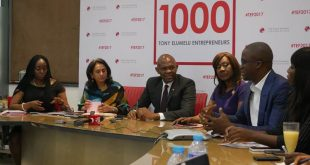 L-R: Founder, Tony Elumelu Foundation (TEF), Tony O. Elumelu CON (middle) flanked on the left by Owen Omogiafo, Chief Operating Officer TEF; Parminder Vir OBE, CEO, TEF and on the right by Nimi Akingugbe, Selection Committee (SC) Member; and Martin Eigbike, SC member during the selection committee (SC) meeting where 1,000 new Entrepreneurs for the 2017 TEF Entrepreneurship Programme were selected and announced in Lagos.