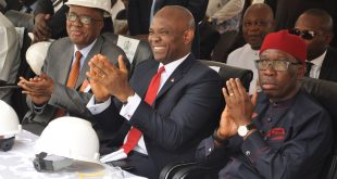 Left to right: President/CEO Transcorp Plc. Emmanuel Nnorom, Chairman, Transcorp Power Limited and Transcorp Plc. Tony O. Elumelu and Executive Governor Delta State, Dr Ifeanyi Okowa