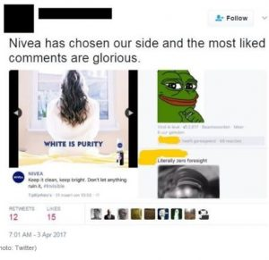 """racial elements in nivea s re civilize yourself """"diversity and equal opportunity are crucial values of nivea"""" but this is just the  next chapter in a history of racist advertising for nivea  re-civilize yourself   reminds me of skin whitening ads i have seen in parts of asia,."""