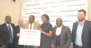 L-R; Kamal  Ogundeji; Director CentrespreadGrey; Peter Jackson; CEO; GreyAfrica; Kola Ayanwale; CEO; CentrespreadGrey; Tola  Obi ; COO; CentrespreadGrey; Dele Odugbemi; Regional Coordinator GreyAfrica and Mark Lax; Client Service Director, GreyAfrica , during the Announcement of Affiliation Agreement between Centrespread and Grey in Lagos