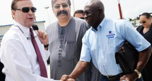 L-R: Ambassador of the United States of America to Nigeria, His Excellency, Stuart W. Symington; Group Executive Director, Strategy, Capital Projects & Portfolio Development,  Dangote Industries Limited, Devakumar Edwin, and Technical Consultant to the President/CE on Refinery & Petrochemical Projects, Dangote Industries Limited, Engr. Babajide Soyode during United States of America Ambassador to Nigeria visit to Dangote Refinery, Petrochemical and Fertilizer Plant, Lekki Lagos on Tuesday, April 18, 2017.