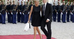 French economy minister Emmanuel Macron and his wife, Brigitte Trogneux, arrive at the Élysée Palace in Paris, June 2015. (Photo: Philippe Wojazer/Reuters)