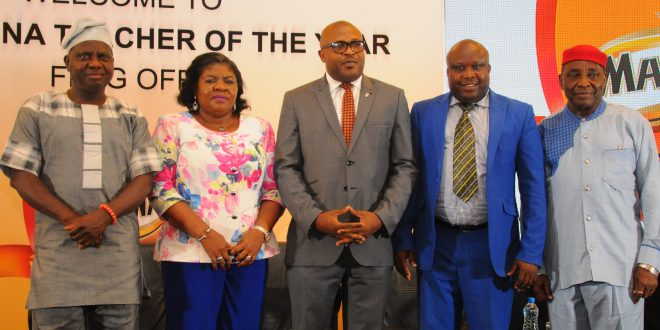 From Left to Right: Mr. Wole Oyeniyi, Deputy General Secretary, Nigerian Union of Teachers; Mrs. Yetunde Odejayi, Permanent Sectary, Office of the Deputy Governor and representative of the Deputy Governor, Lagos State;  Mr. Kufre Ekanem, Corporate Affairs Adviser, Nigerian Breweries Plc; Mr. Essien Imoh, 2016 winner, Maltina Teacher of the Yearand Professor Aloy Ejiogu, Faculty of Education, University of Lagos and guest presenter at the flag-off of the 2017 Maltina Teacher of the Year in Lagos on Tuesday