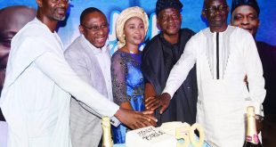 L-R Shows Modupe Adetokunbo, Chairman/Lead Strategist, TPT International; Yomi Badejo-Okusanya, President, African Public Relations Association (APRA); Shalom Okonmah, celebrant's spouse; Joseph Okonmah, the celebrant and Dr. Rotimi Oladele, President/Chairman, Governing Council, NIPR at the 50th birthday anniversary of Joseph Okonmah in Ikeja, Lagos.