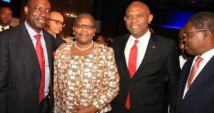 Professor Charles Soludo; Former Minister for Education, Dr. Oby Ezekwesili; Chairman, UBA Group Tony O. Elumelu and Former commissioner of Finance in Lagos State, Ayo Gbeleyi at  the gala in Abuja on Monday  in celebration of Africa Finance Corporation's 10th year Anniversary
