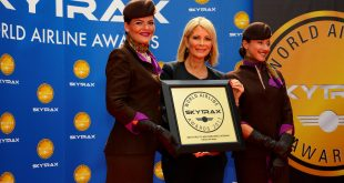 Linda Celestino, Etihad Airways Vice President Guest Experience Delivery, receives the Skytrax World Airline Awards for World's Best First Class Airline, World's Best First Class Onboard Catering and World's Best First Class Airline Seat