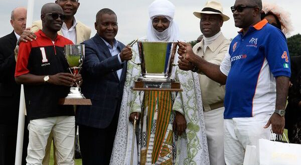 Emir of Kano, Mohammed Sanusi II (middle) joined by the winning teams at the 2017 Access Bank polo challenge at The Guards Polo Club, in Windsor, UK, Keffi Ponies winners of the 2017 Emir's Cup and Access Bank team winners of the 2017 Access Bank Cup. With the Emir,(L-R) are the Captain of Keffi Ponies,  Ahmed Wadada; President of The Nigerian Stock Exchange, Mr. Aigboje Aig-Imoukhuede; President of Dangote Group, Alhaji Aliko Dangote (second left); Group Managing Director/CEO of Access Bank Plc, Mr. Herbert Wigwe (second right); and the Captain of Access Bank team, Mahmud Adamu-Attah (first right).