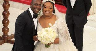 Olujonwo Obasanjo and Temitope Kessington Adebutu during their wedding